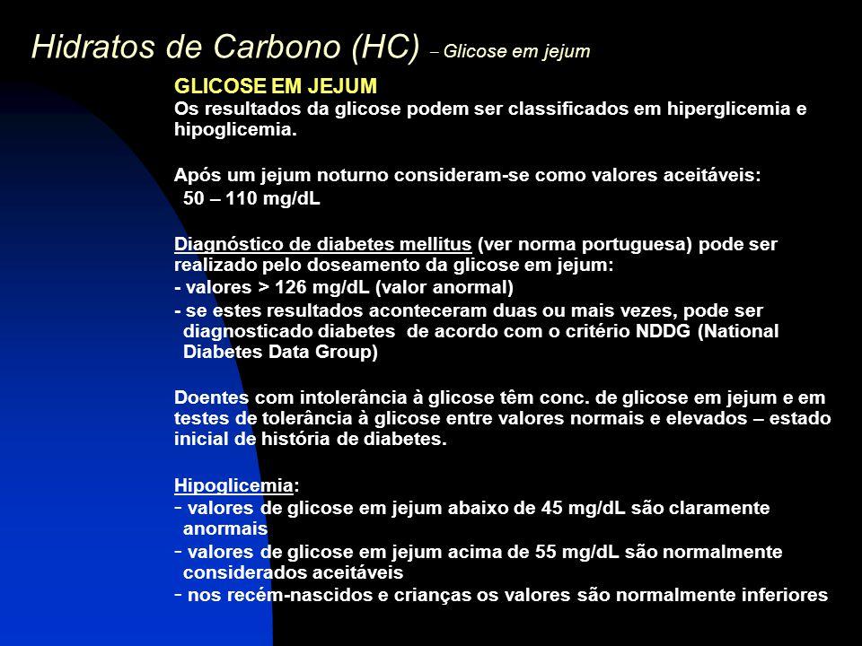 Hidratos de Carbono (HC) – Glicose em jejum GLICOSE EM JEJUM Os resultados da glicose podem ser classificados em hiperglicemia e hipoglicemia. Após um