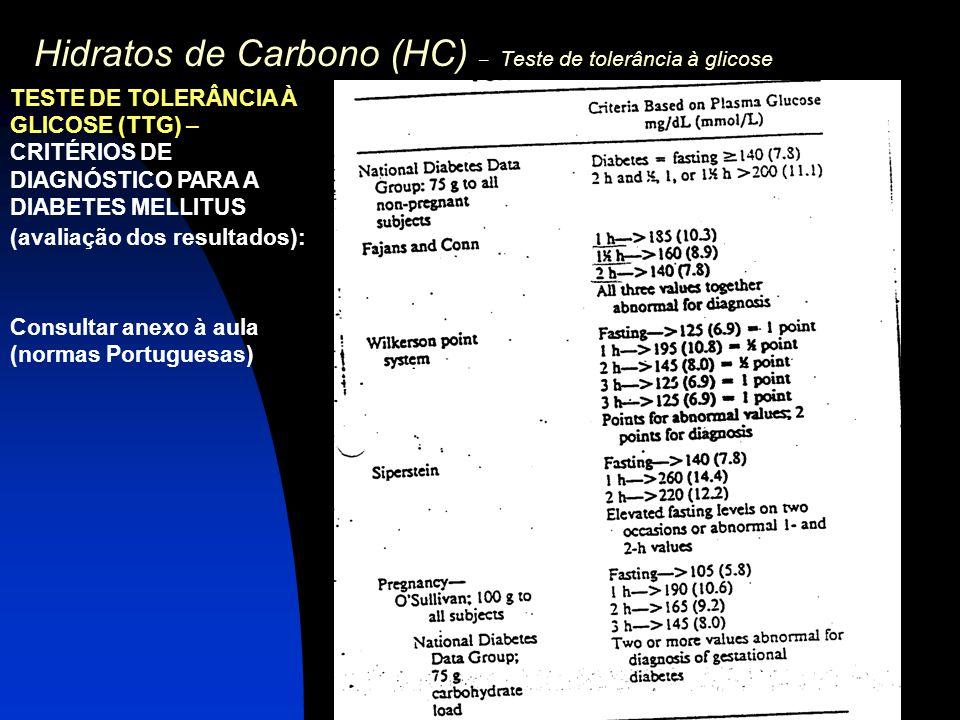Hidratos de Carbono (HC) – Teste de tolerância à glicose TESTE DE TOLERÂNCIA À GLICOSE (TTG) – CRITÉRIOS DE DIAGNÓSTICO PARA A DIABETES MELLITUS (aval