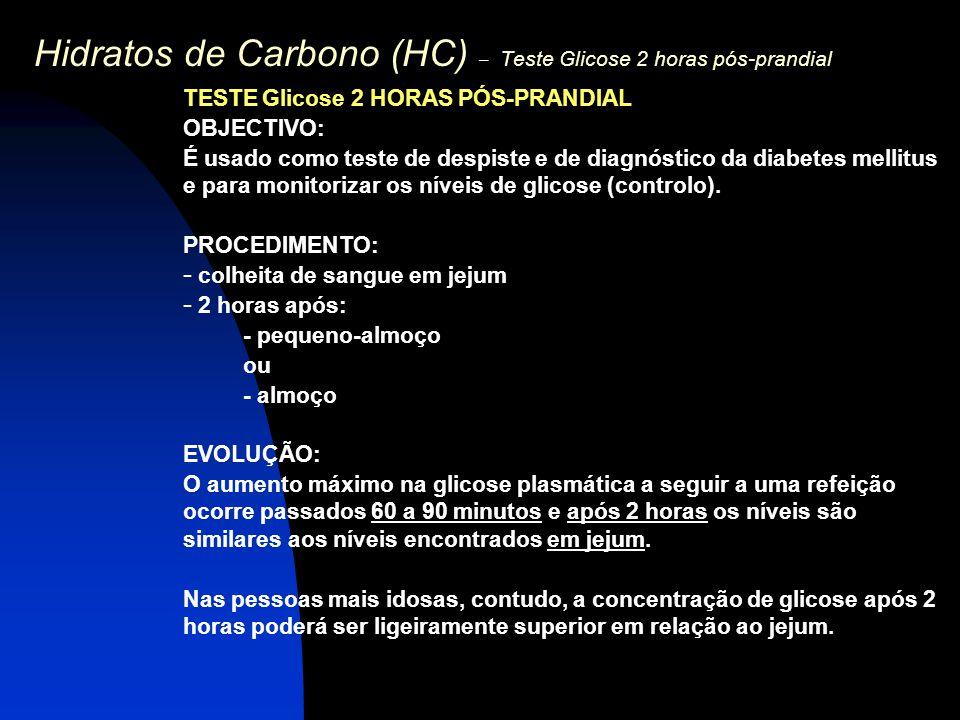 Hidratos de Carbono (HC) – Teste Glicose 2 horas pós-prandial TESTE Glicose 2 HORAS PÓS-PRANDIAL OBJECTIVO: É usado como teste de despiste e de diagnó