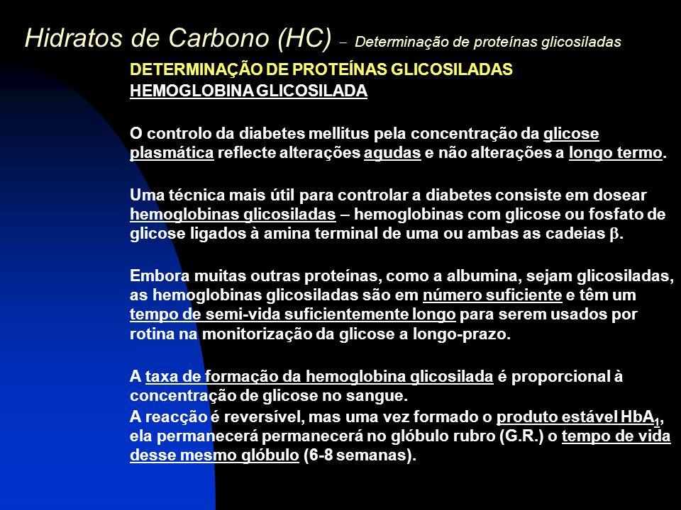 Hidratos de Carbono (HC) – Determinação de proteínas glicosiladas DETERMINAÇÃO DE PROTEÍNAS GLICOSILADAS HEMOGLOBINA GLICOSILADA O controlo da diabete