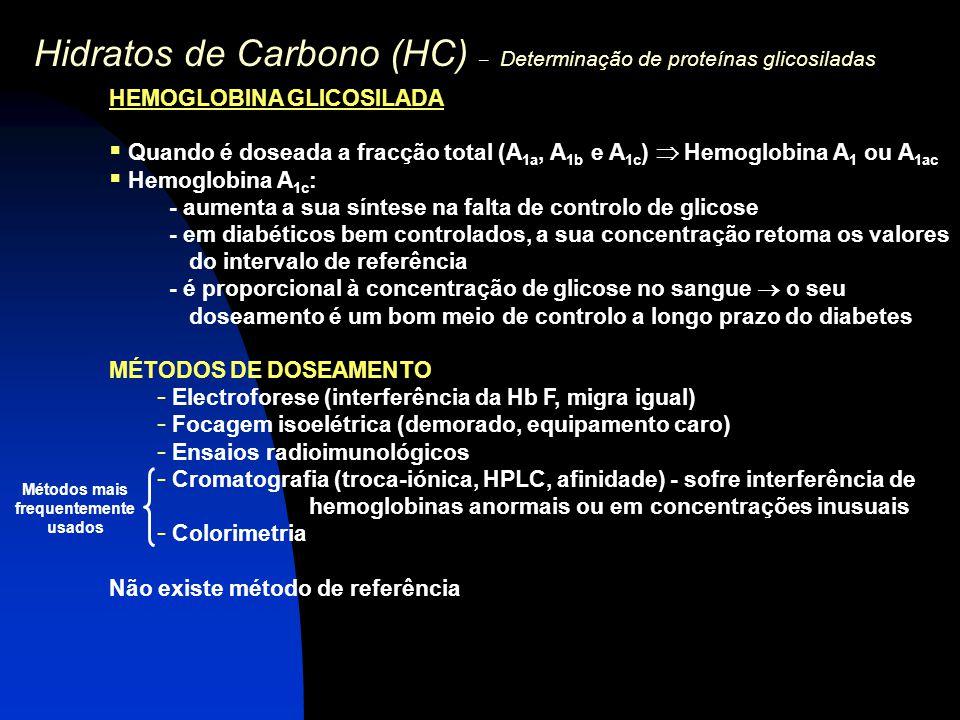 Hidratos de Carbono (HC) – Determinação de proteínas glicosiladas HEMOGLOBINA GLICOSILADA  Quando é doseada a fracção total (A 1a, A 1b e A 1c )  He