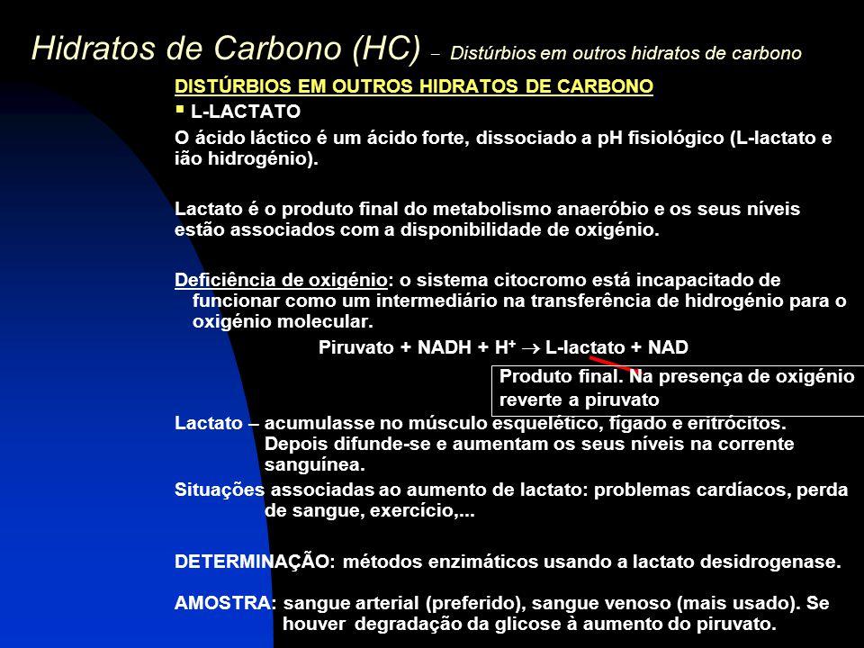 Hidratos de Carbono (HC) – Distúrbios em outros hidratos de carbono DISTÚRBIOS EM OUTROS HIDRATOS DE CARBONO  L-LACTATO O ácido láctico é um ácido fo