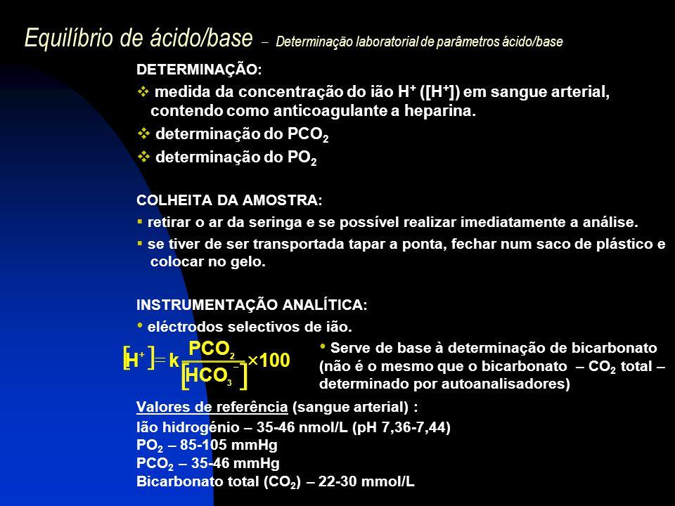 Equilíbrio de ácido/base – Determinação laboratorial de parâmetros ácido/base DETERMINAÇÃO:  medida da concentração do ião H + ([H + ]) em sangue art