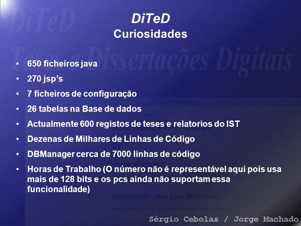 DiTeD Curiosidades 650 ficheiros java 270 jsp's 7 ficheiros de configuração 26 tabelas na Base de dados Actualmente 600 registos de teses e relatorios