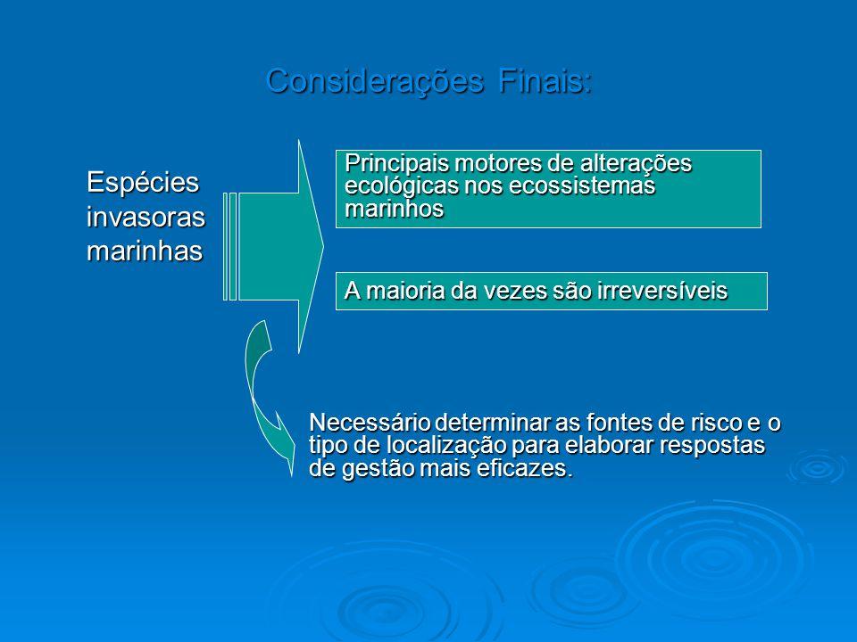 Considerações Finais: Espécies invasoras marinhas Principais motores de alterações ecológicas nos ecossistemas marinhos A maioria da vezes são irrever
