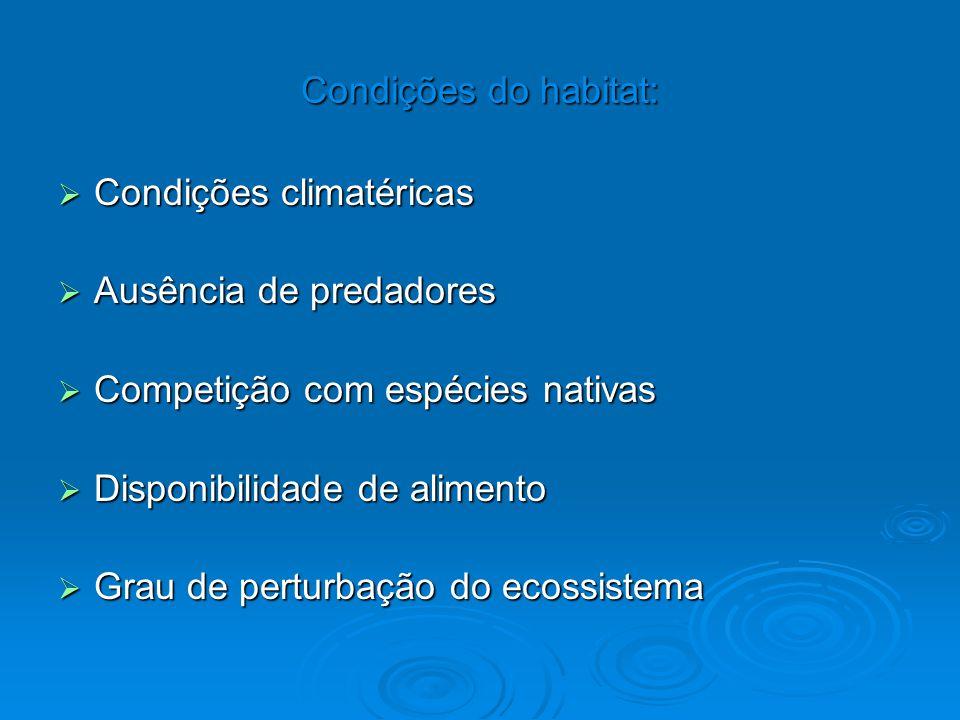 Condições do habitat:  Condições climatéricas  Ausência de predadores  Competição com espécies nativas  Disponibilidade de alimento  Grau de pert