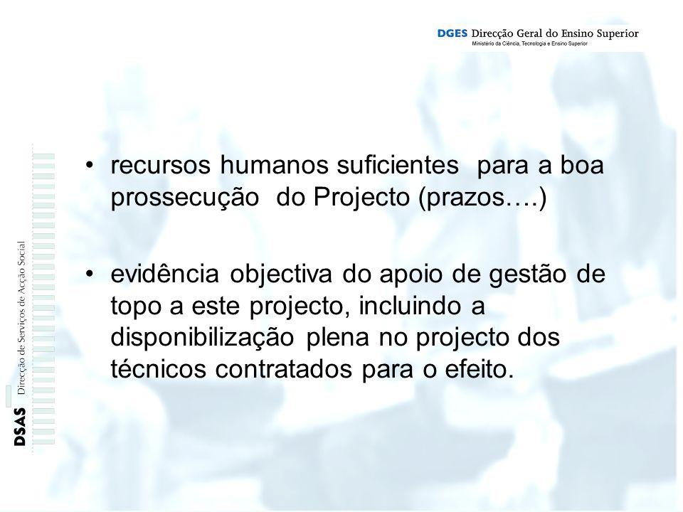 recursos humanos suficientes para a boa prossecução do Projecto (prazos….) evidência objectiva do apoio de gestão de topo a este projecto, incluindo a disponibilização plena no projecto dos técnicos contratados para o efeito.