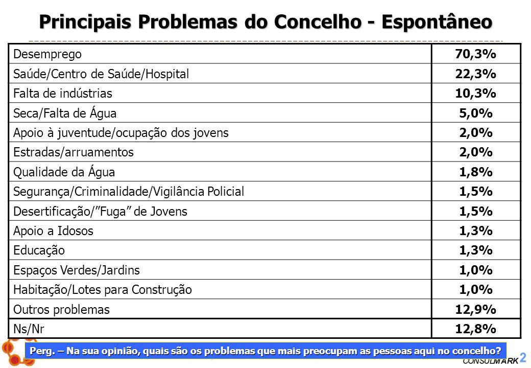PROJECTO Nº. 2005/004 – Os Problemas Sociais em Montemor-o-Novo 17 Principais Problemas do Concelho - Espontâneo Desemprego70,3% Saúde/Centro de Saúde