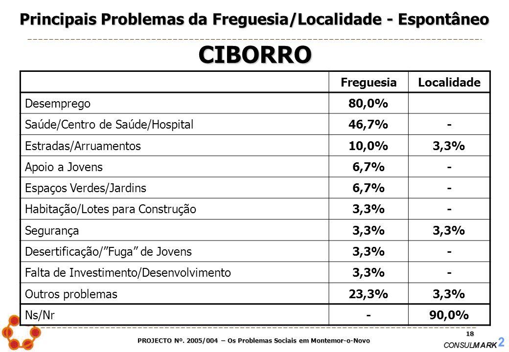 PROJECTO Nº. 2005/004 – Os Problemas Sociais em Montemor-o-Novo 18 FreguesiaLocalidade Desemprego80,0% Saúde/Centro de Saúde/Hospital46,7%- Estradas/A