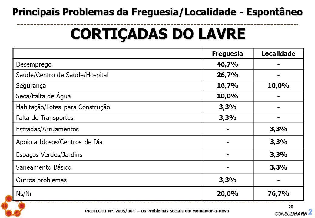 PROJECTO Nº. 2005/004 – Os Problemas Sociais em Montemor-o-Novo 20 FreguesiaLocalidade Desemprego46,7%- Saúde/Centro de Saúde/Hospital26,7%- Segurança
