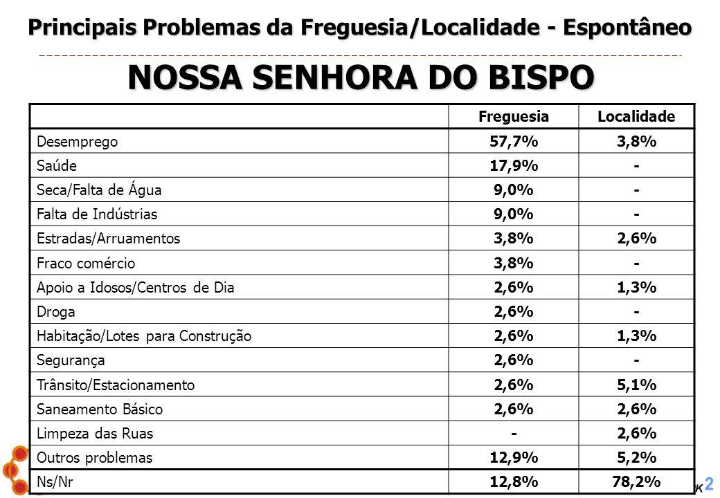 PROJECTO Nº. 2005/004 – Os Problemas Sociais em Montemor-o-Novo 24 FreguesiaLocalidade Desemprego57,7%3,8% Saúde17,9%- Seca/Falta de Água9,0%- Falta d