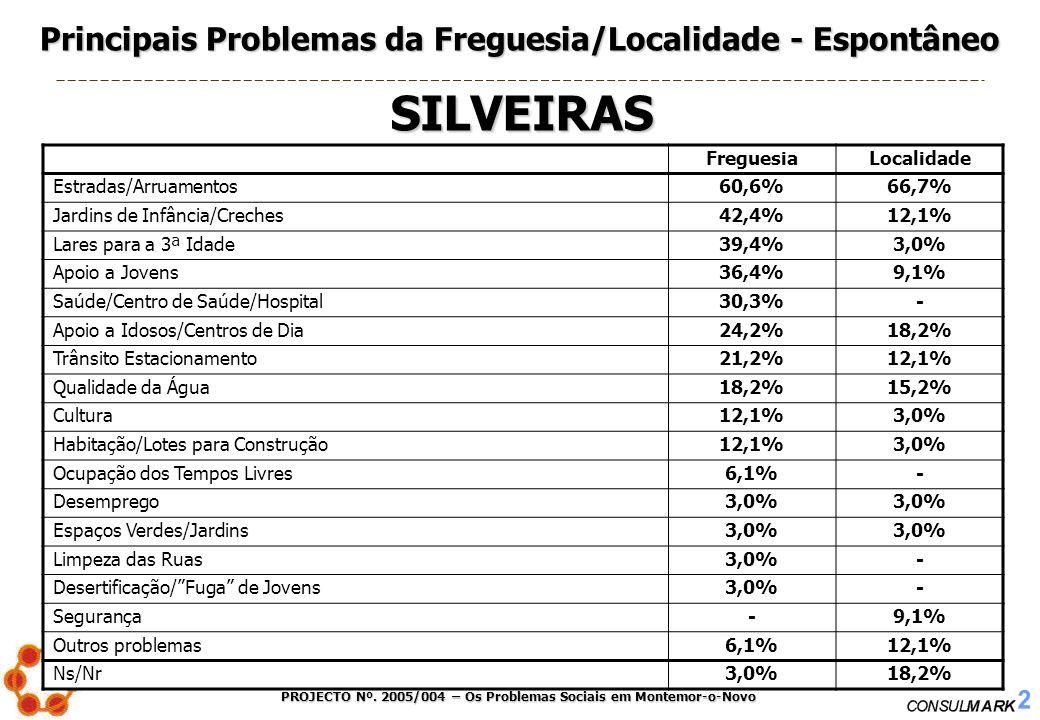 PROJECTO Nº. 2005/004 – Os Problemas Sociais em Montemor-o-Novo 27 FreguesiaLocalidade Estradas/Arruamentos60,6%66,7% Jardins de Infância/Creches42,4%