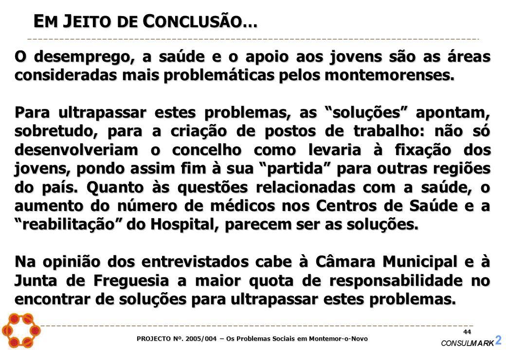 PROJECTO Nº. 2005/004 – Os Problemas Sociais em Montemor-o-Novo 44 E M J EITO DE C ONCLUSÃO… O desemprego, a saúde e o apoio aos jovens são as áreas c