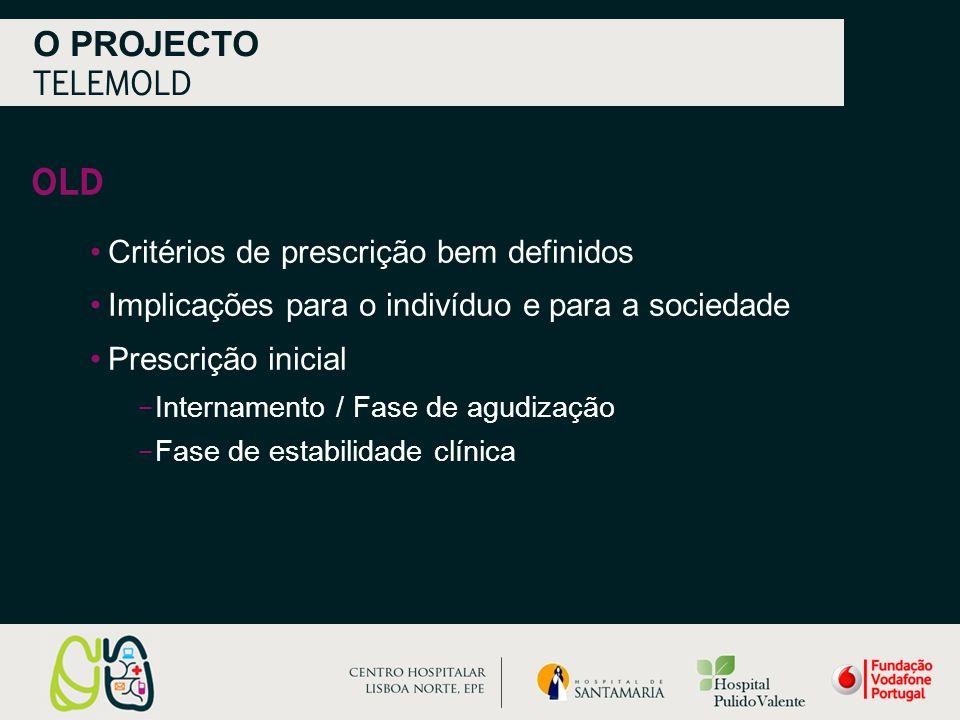 OLD O PROJECTO TELEMOLD Critérios de prescrição bem definidos Implicações para o indivíduo e para a sociedade Prescrição inicial − Internamento / Fase de agudização − Fase de estabilidade clínica