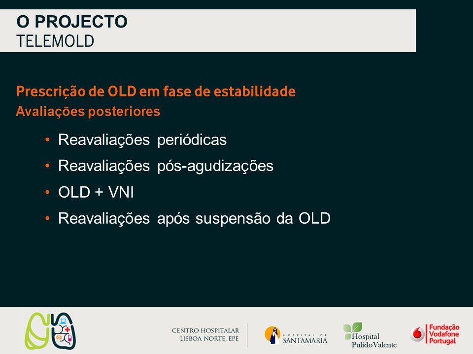 Prescrição de OLD em fase de estabilidade Avaliações posteriores O PROJECTO TELEMOLD Reavaliações periódicas Reavaliações pós-agudizações OLD + VNI Reavaliações após suspensão da OLD
