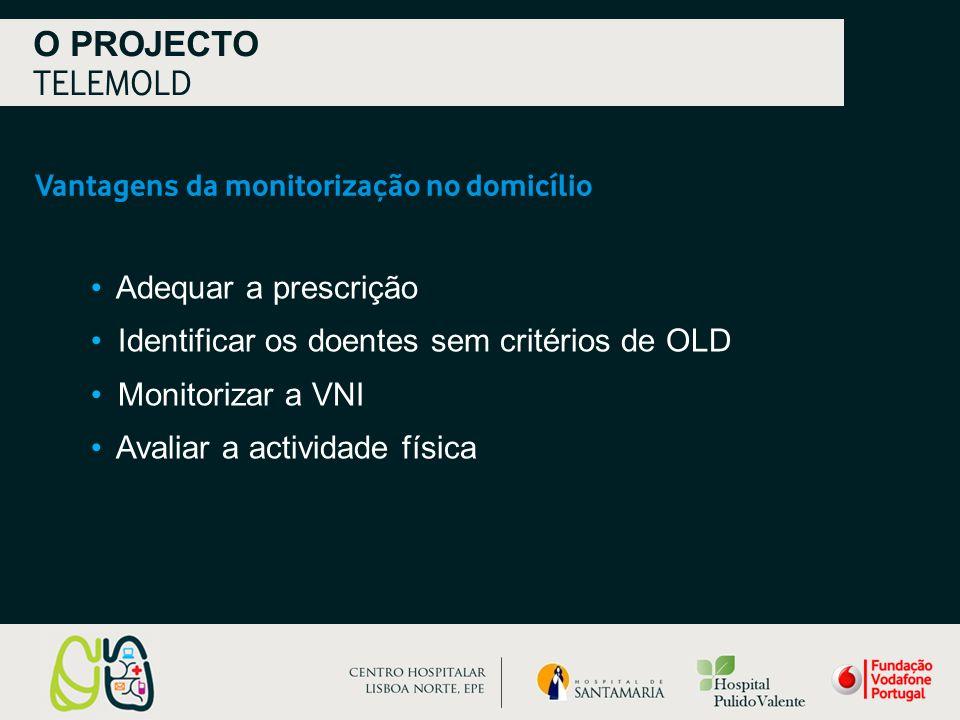 Vantagens da monitorização no domicílio O PROJECTO TELEMOLD Adequar a prescrição Identificar os doentes sem critérios de OLD Monitorizar a VNI Avaliar a actividade física