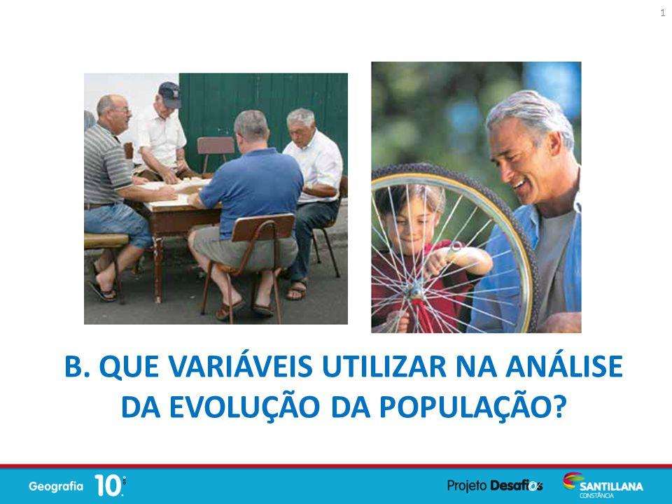 B. QUE VARIÁVEIS UTILIZAR NA ANÁLISE DA EVOLUÇÃO DA POPULAÇÃO? 1