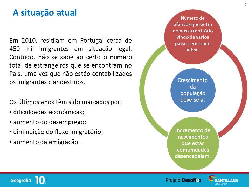 Em 2010, residiam em Portugal cerca de 450 mil imigrantes em situação legal. Contudo, não se sabe ao certo o número total de estrangeiros que se encon