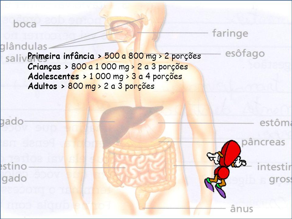 Primeira infância > 500 a 800 mg > 2 porções Crianças > 800 a 1 000 mg > 2 a 3 porções Adolescentes > 1 000 mg > 3 a 4 porções Adultos > 800 mg > 2 a