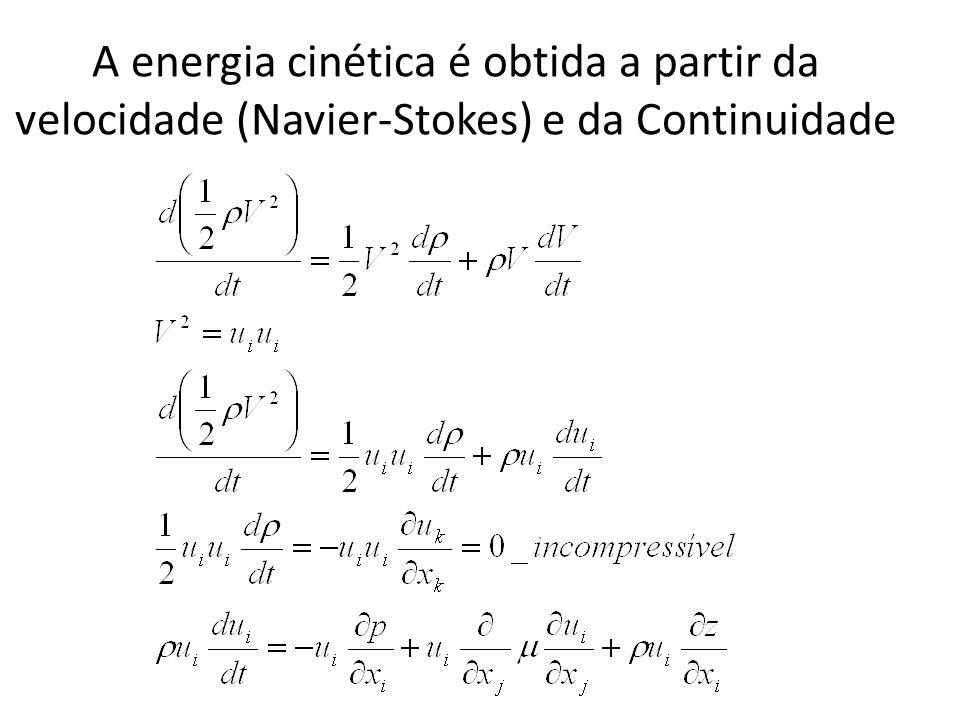 A energia cinética é obtida a partir da velocidade (Navier-Stokes) e da Continuidade