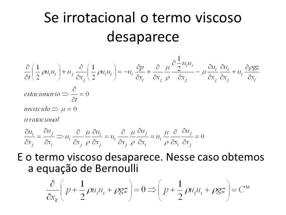 Se irrotacional o termo viscoso desaparece E o termo viscoso desaparece. Nesse caso obtemos a equação de Bernoulli