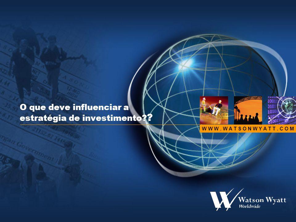 9 Missão Maximizar o valor para o accionista usando a carteira de forma eficiente (e garantindo performance para o segurado) Manter um nível de solvência que garanta uma posição competitiva Ter a capacidade de responder às responsabilidades quando as mesma são devidas Copyright © Watson Wyatt Worldwide.