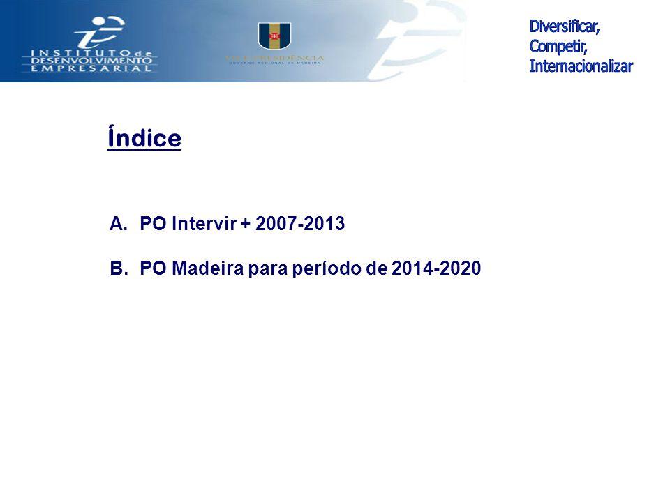 Índice A. PO Intervir + 2007-2013 B. PO Madeira para período de 2014-2020