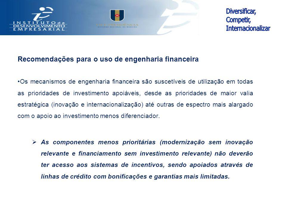 Recomendações para o uso de engenharia financeira Os mecanismos de engenharia financeira são suscetíveis de utilização em todas as prioridades de inve