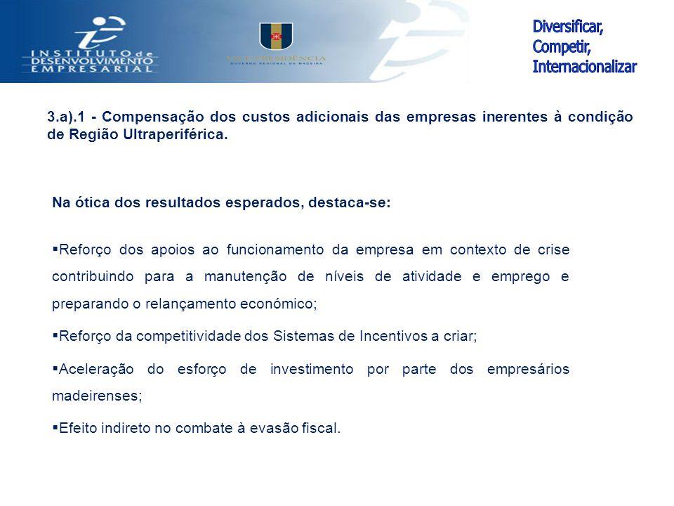 Na ótica dos resultados esperados, destaca-se:  Reforço dos apoios ao funcionamento da empresa em contexto de crise contribuindo para a manutenção de