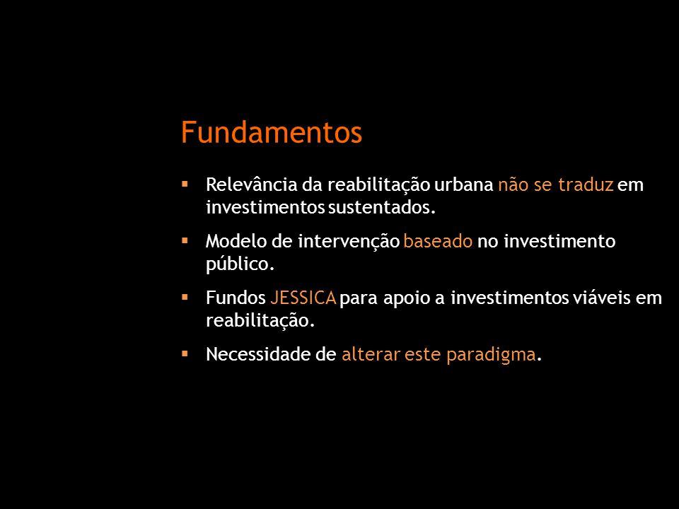  Relevância da reabilitação urbana não se traduz em investimentos sustentados.  Modelo de intervenção baseado no investimento público.  Fundos JESS