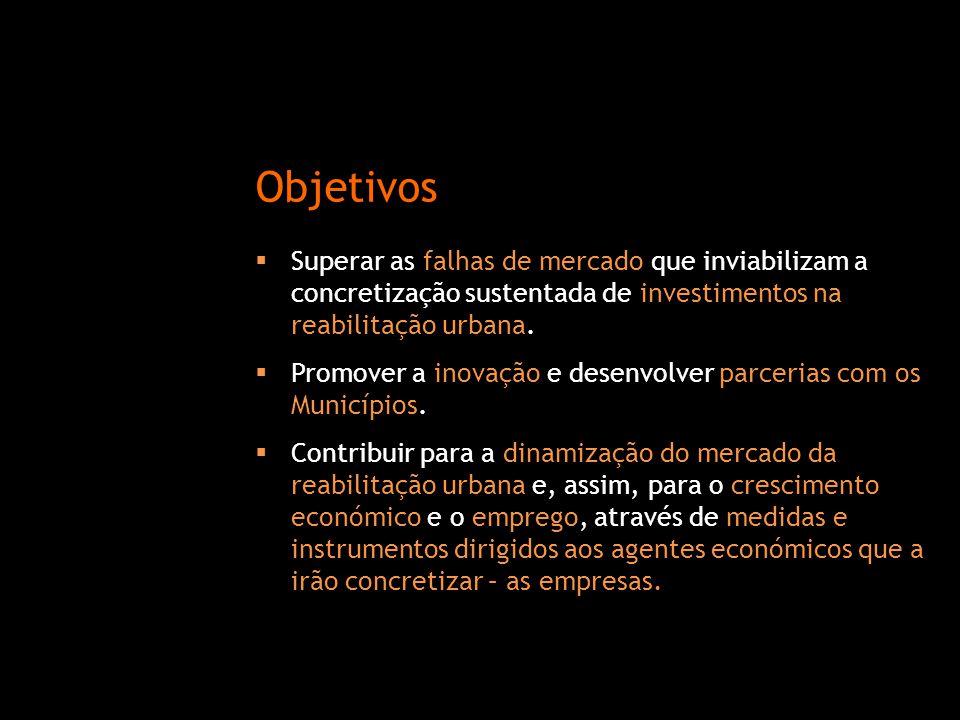  Superar as falhas de mercado que inviabilizam a concretização sustentada de investimentos na reabilitação urbana.  Promover a inovação e desenvolve