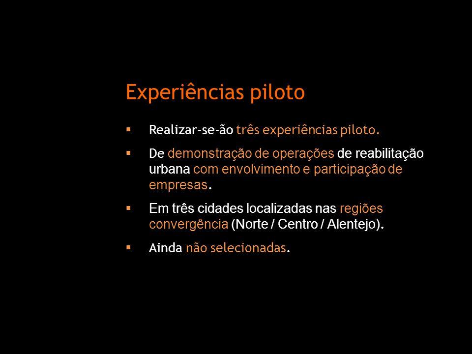  Realizar-se-ão três experiências piloto.  De demonstração de operações de reabilitação urbana com envolvimento e participação de empresas.  Em trê