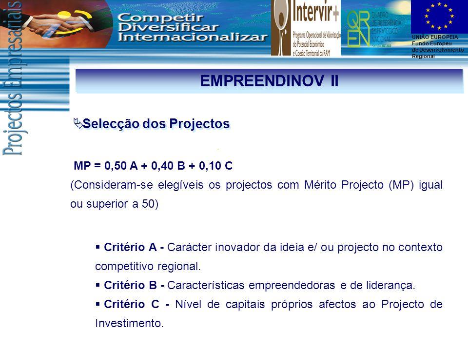 UNIÃO EUROPEIA Fundo Europeu de Desenvolvimento Regional EMPREENDINOV II MP = 0,50 A + 0,40 B + 0,10 C (Consideram-se elegíveis os projectos com Mérito Projecto (MP) igual ou superior a 50)  Selecção dos Projectos  Critério A - Carácter inovador da ideia e/ ou projecto no contexto competitivo regional.
