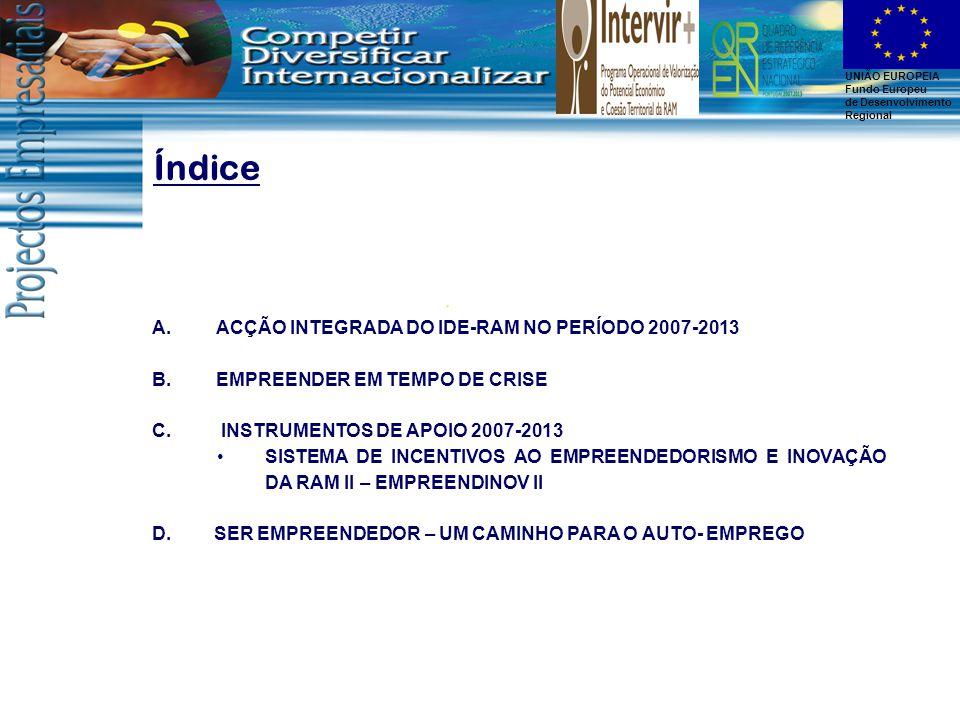 UNIÃO EUROPEIA Fundo Europeu de Desenvolvimento Regional Índice A.ACÇÃO INTEGRADA DO IDE-RAM NO PERÍODO 2007-2013 B.EMPREENDER EM TEMPO DE CRISE C.