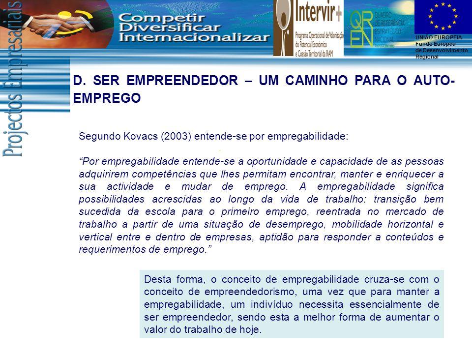 """UNIÃO EUROPEIA Fundo Europeu de Desenvolvimento Regional Segundo Kovacs (2003) entende-se por empregabilidade: """"Por empregabilidade entende-se a oport"""