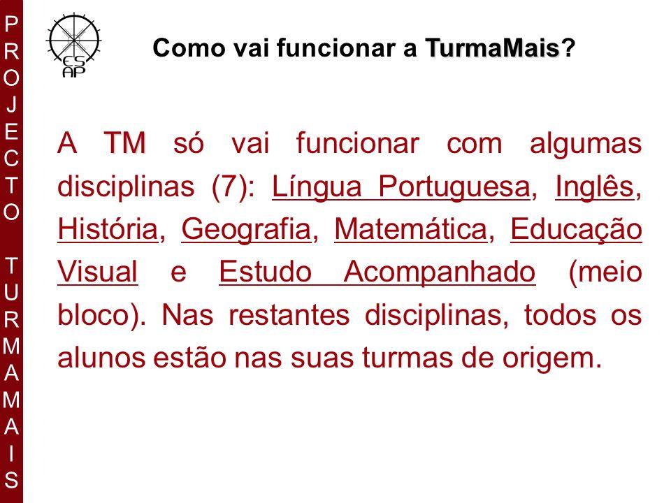 PROJECTOTURMAMAISPROJECTOTURMAMAIS TurmaMais Como vai funcionar a TurmaMais.
