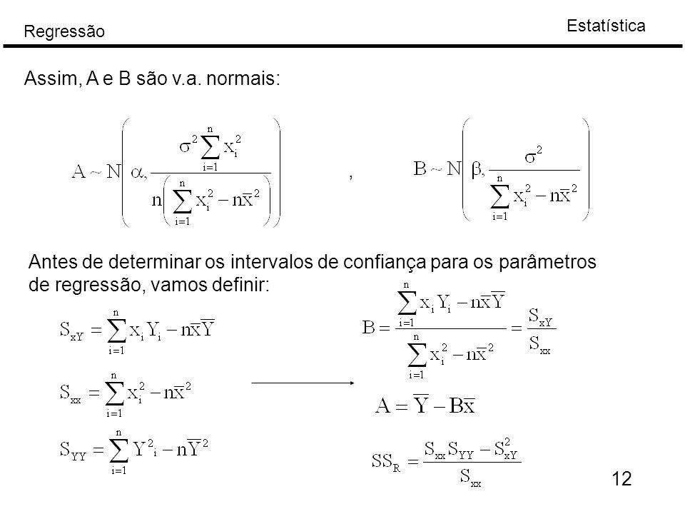 Estatística Regressão 12 Assim, A e B são v.a. normais:, Antes de determinar os intervalos de confiança para os parâmetros de regressão, vamos definir