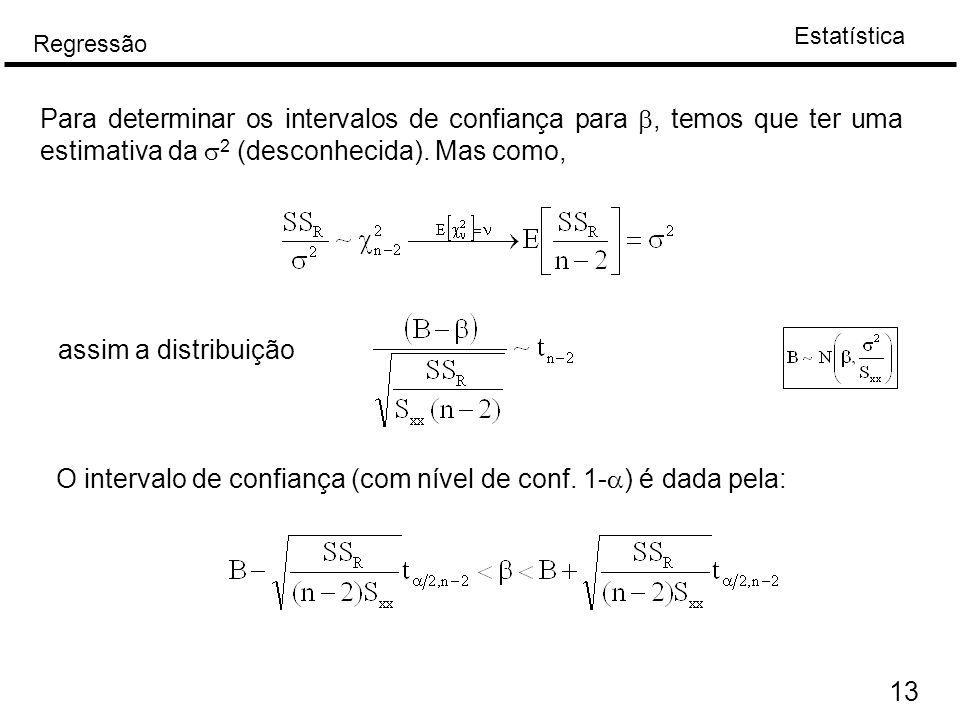 Estatística Regressão 13 Para determinar os intervalos de confiança para , temos que ter uma estimativa da  2 (desconhecida). Mas como, assim a dist
