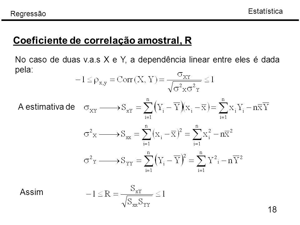 Estatística Regressão 18 Coeficiente de correlação amostral, R No caso de duas v.a.s X e Y, a dependência linear entre eles é dada pela: A estimativa
