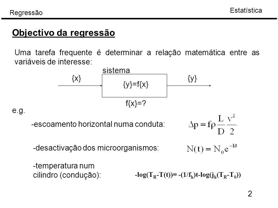 Estatística Regressão 2 Uma tarefa frequente é determinar a relação matemática entre as variáveis de interesse: Objectivo da regressão {x}{y} {y}=f{x}