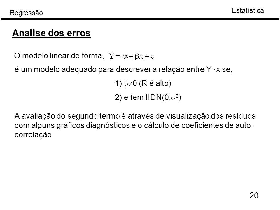 Estatística Regressão 20 Analise dos erros O modelo linear de forma, é um modelo adequado para descrever a relação entre Y~x se, 1)  0 (R é alto) 2)