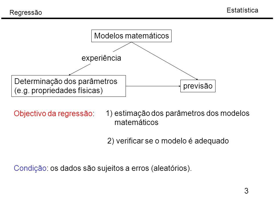 Estatística Regressão 3 Modelos matemáticos Determinação dos parâmetros (e.g. propriedades físicas) previsão experiência Objectivo da regressão: 1) es