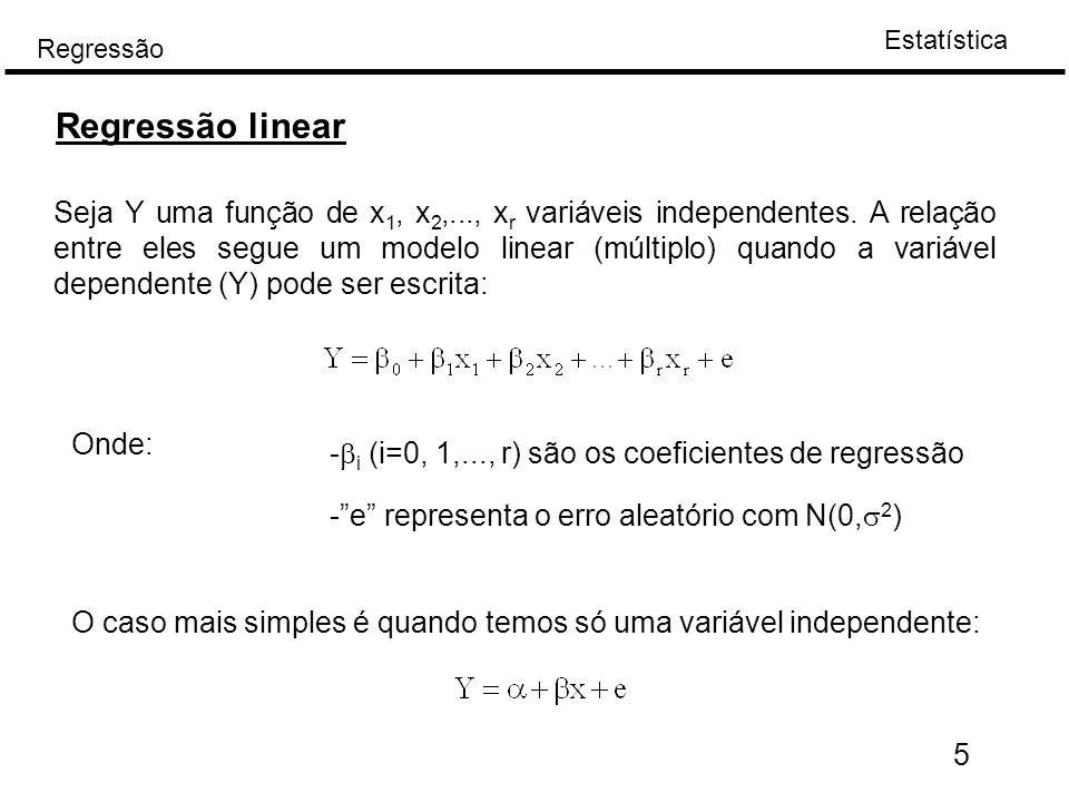 Estatística Regressão 5 Regressão linear Seja Y uma função de x 1, x 2,..., x r variáveis independentes. A relação entre eles segue um modelo linear (