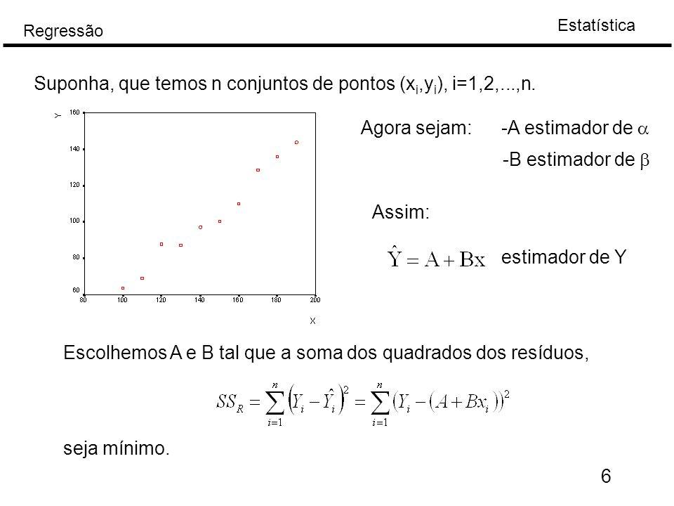 Estatística Regressão 6 Suponha, que temos n conjuntos de pontos (x i,y i ), i=1,2,...,n. Agora sejam: -A estimador de  -B estimador de  Assim: esti