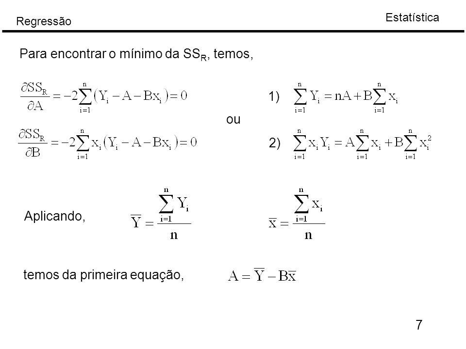 Estatística Regressão 18 Coeficiente de correlação amostral, R No caso de duas v.a.s X e Y, a dependência linear entre eles é dada pela: A estimativa de Assim