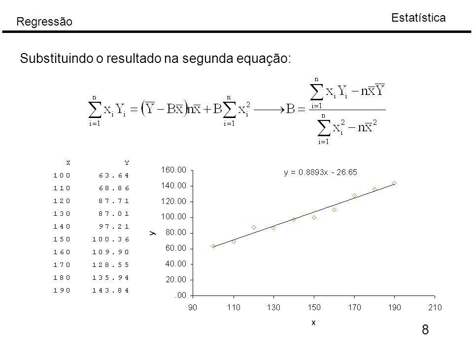 Estatística Regressão 9 Distribuição dos estimadores, limites de confiança para os coeficientes de regressão Para determinar a distribuição A e B, vamos supor que, B pode ser escrito, onde   e  são constantes.
