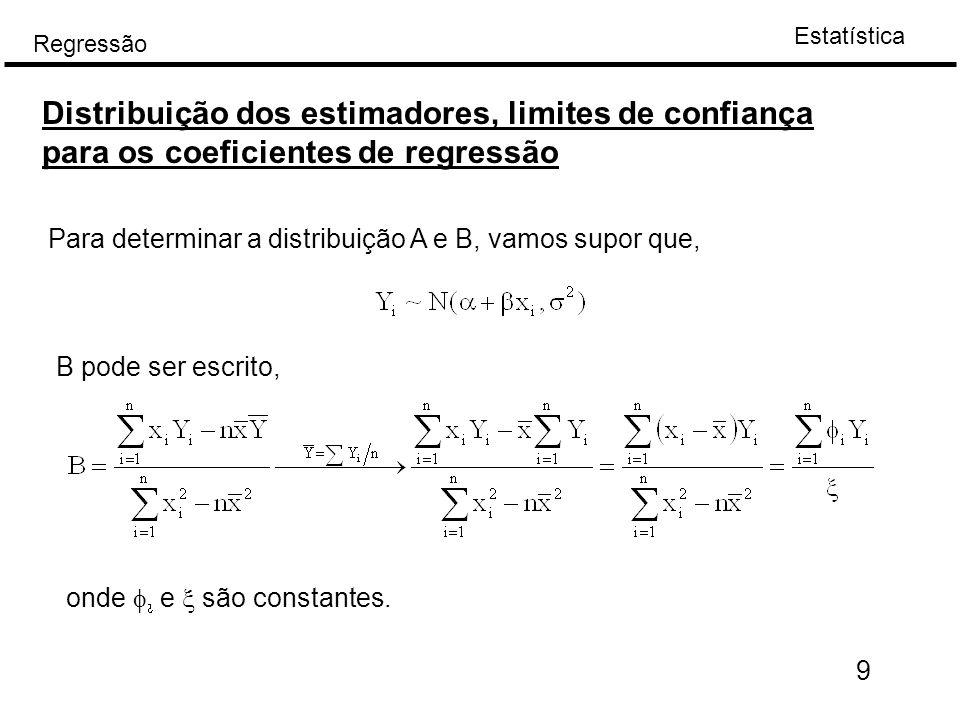 Estatística Regressão 10 Porque Y tem uma distribuição normal, B também tem com N(  B  2 B  A variância de B sem prova,