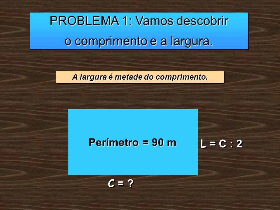 PROBLEMA 1: Vamos descobrir o comprimento e a largura. PROBLEMA 1: Vamos descobrir o comprimento e a largura. A largura é metade do comprimento. Perím