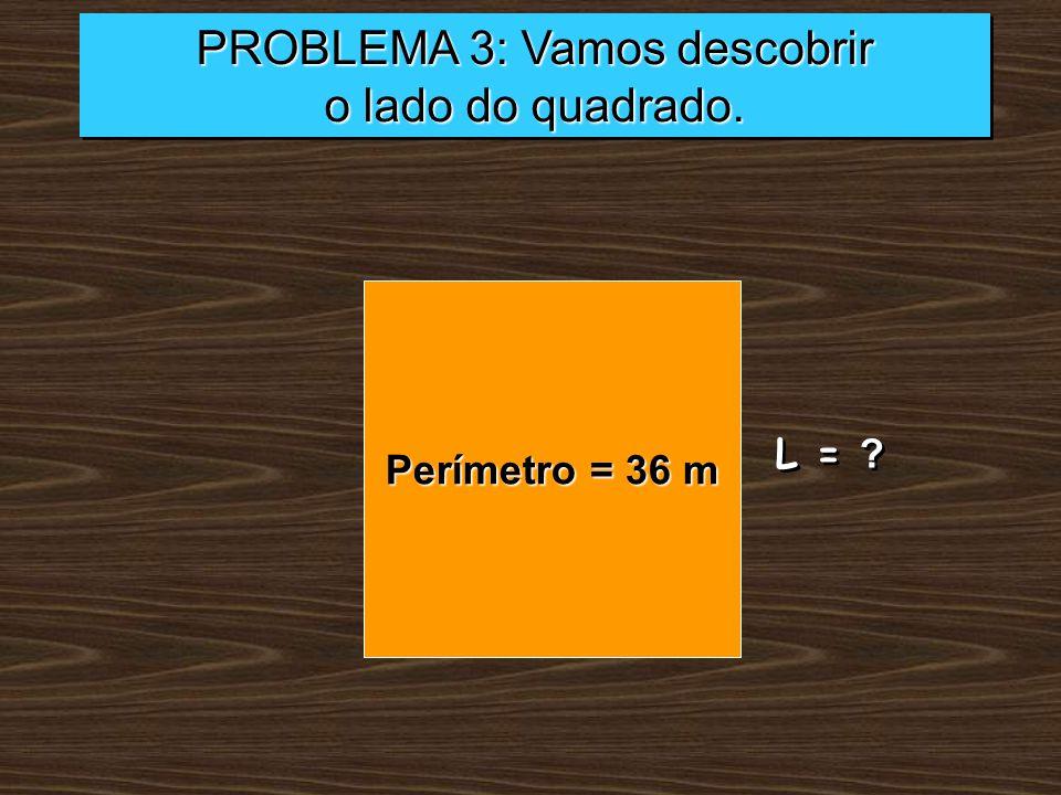 PROBLEMA 3: Vamos descobrir o lado do quadrado. PROBLEMA 3: Vamos descobrir o lado do quadrado. Perímetro = 36 m L = ?