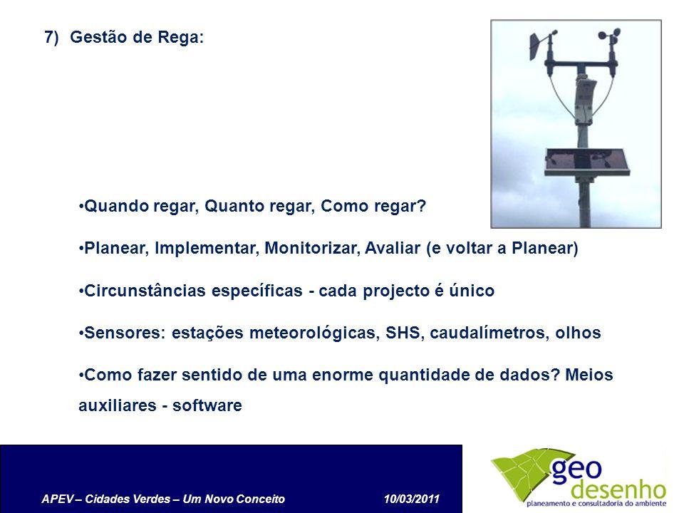 APEV – Cidades Verdes – Um Novo Conceito10/03/2011 7)Gestão de Rega: Quando regar, Quanto regar, Como regar.